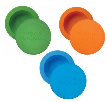 Set van 3 OOGAA maaltijdkommen met deksel (groen, oranje en blauw)